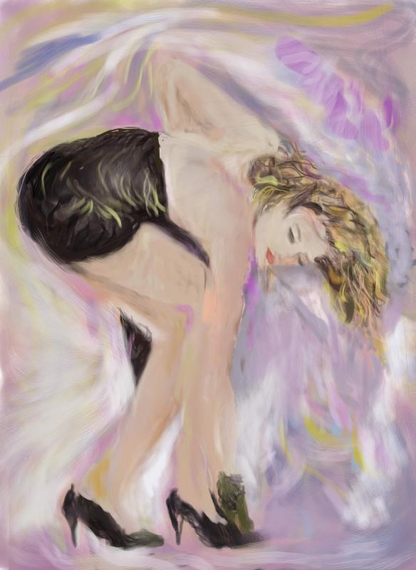 E-0016-019-R; Modèle inconnue à la robe noire, art digital, 2015-08-31
